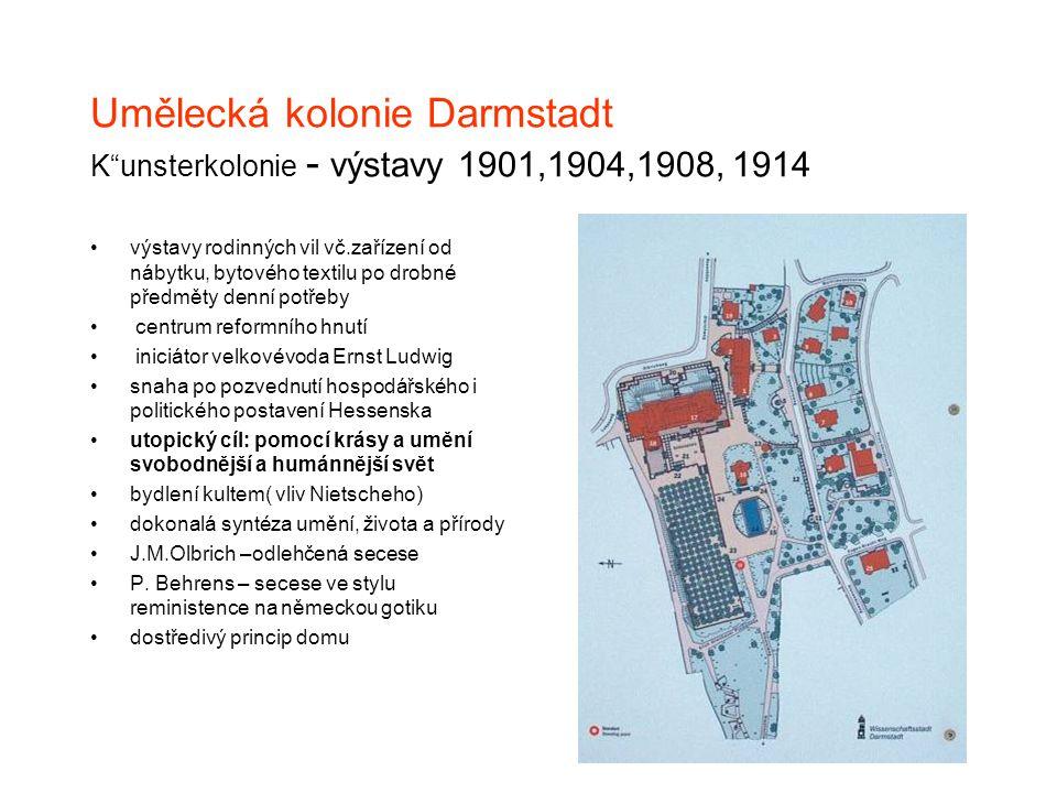 """Umělecká kolonie Darmstadt K""""unsterkolonie - výstavy 1901,1904,1908, 1914 výstavy rodinných vil vč.zařízení od nábytku, bytového textilu po drobné pře"""