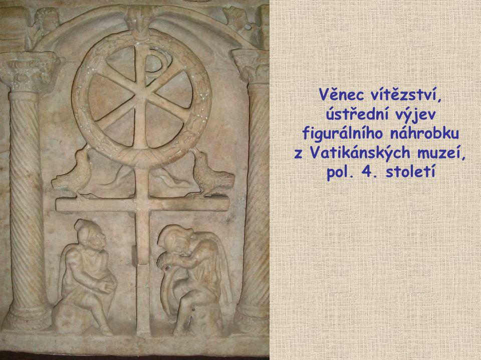 Věnec vítězství, ústřední výjev figurálního náhrobku z Vatikánských muzeí, pol. 4. století