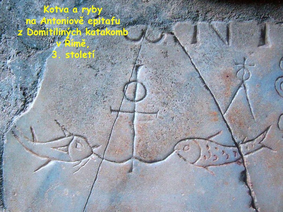 """KOTVA A RYBY Kotva je symbolem naděje, jistoty a spásy dává stabilitu lodi na rozbouřeném moři a jistí místo v přístavu Jistota Božího zaslíbení – """"pevné zakotvení v naději – zmiňovaná v listě Židům (6,18–19) v narážce na věčný život (""""jako první z nás vstoupil do nebeské svatyně Ježíš ) je důvodem, proč se symbolické zobrazení kotvy objevuje na mnoha křesťanských náhrobcích, a to nejvíce kolem roku 300, kdy opět zesílilo pronásledování."""