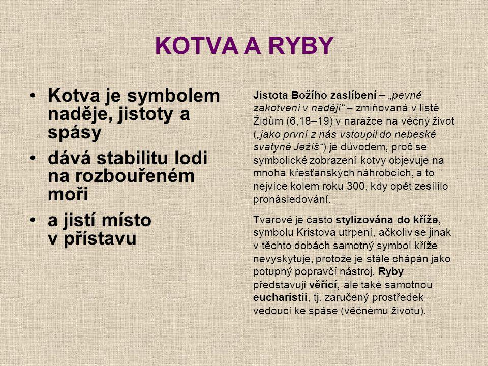 """KOTVA A RYBY Kotva je symbolem naděje, jistoty a spásy dává stabilitu lodi na rozbouřeném moři a jistí místo v přístavu Jistota Božího zaslíbení – """"pe"""