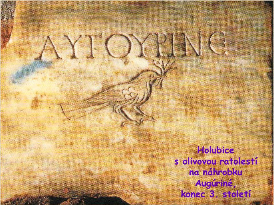 HOLUBICE S OLIVOVOU RATOLESTÍ Symbolické zobrazení holubice s olivovou ratolestí je narážka na holubici ohlašující Noemovi konec potopy a předzvěst Božího míru pro svět (Gn 8,10.12).
