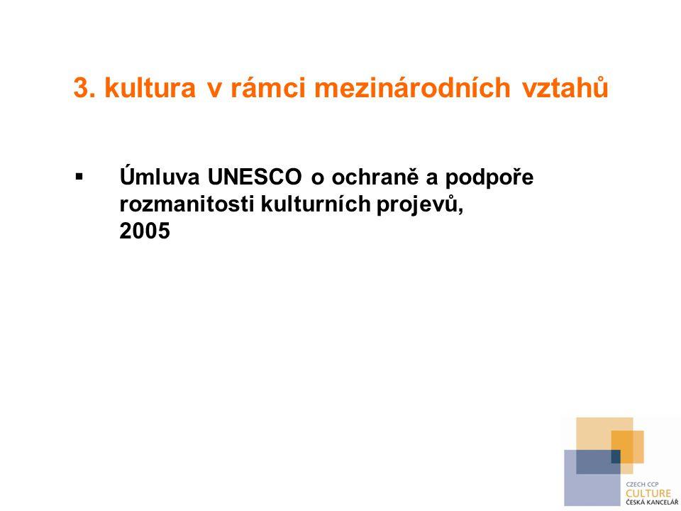 3. kultura v rámci mezinárodních vztahů  Úmluva UNESCO o ochraně a podpoře rozmanitosti kulturních projevů, 2005