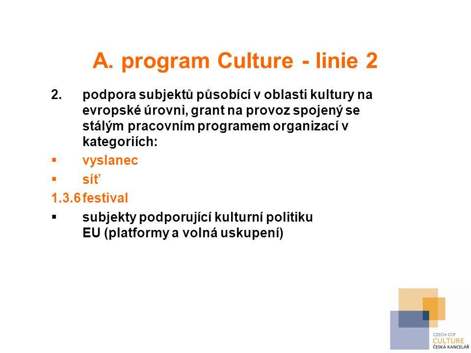 A. program Culture - linie 2 2.podpora subjektů působící v oblasti kultury na evropské úrovni, grant na provoz spojený se stálým pracovním programem o