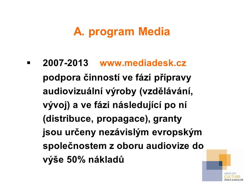 A. program Media  2007-2013 www.mediadesk.cz podpora činností ve fázi přípravy audiovizuální výroby (vzdělávání, vývoj) a ve fázi následující po ní (