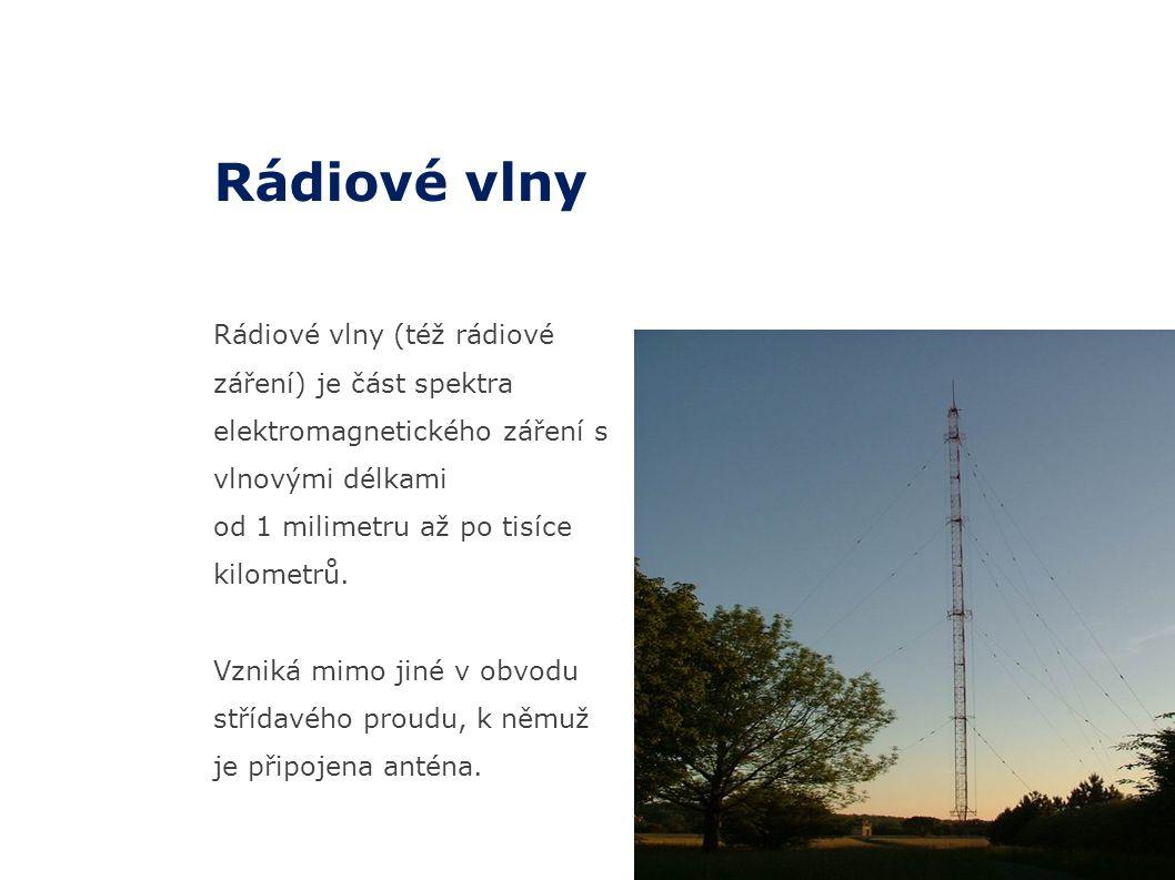14 Rádiové vlny (též rádiové záření) je část spektra elektromagnetického záření s vlnovými délkami od 1 milimetru až po tisíce kilometrů. Vzniká mimo