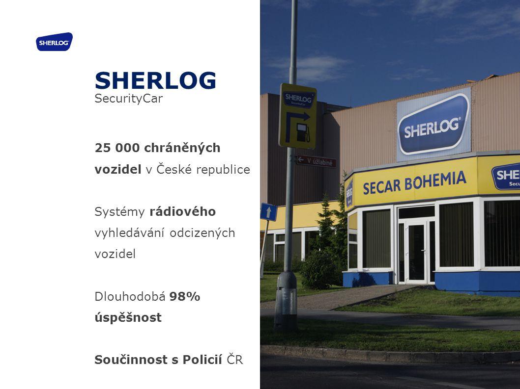 25 000 chráněných vozidel v České republice Systémy rádiového vyhledávání odcizených vozidel Dlouhodobá 98% úspěšnost Součinnost s Policií ČR SHERLOG