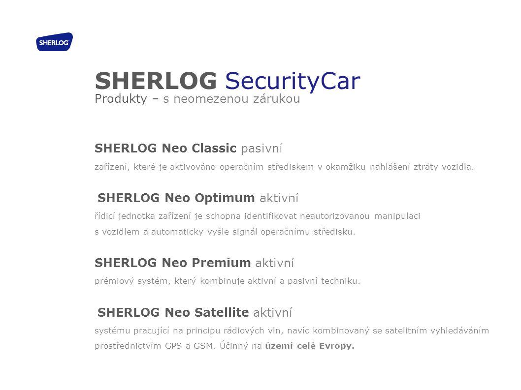 SHERLOG SecurityCar Produkty – s neomezenou zárukou SHERLOG Neo Classic pasivní zařízení, které je aktivováno operačním střediskem v okamžiku nahlášen