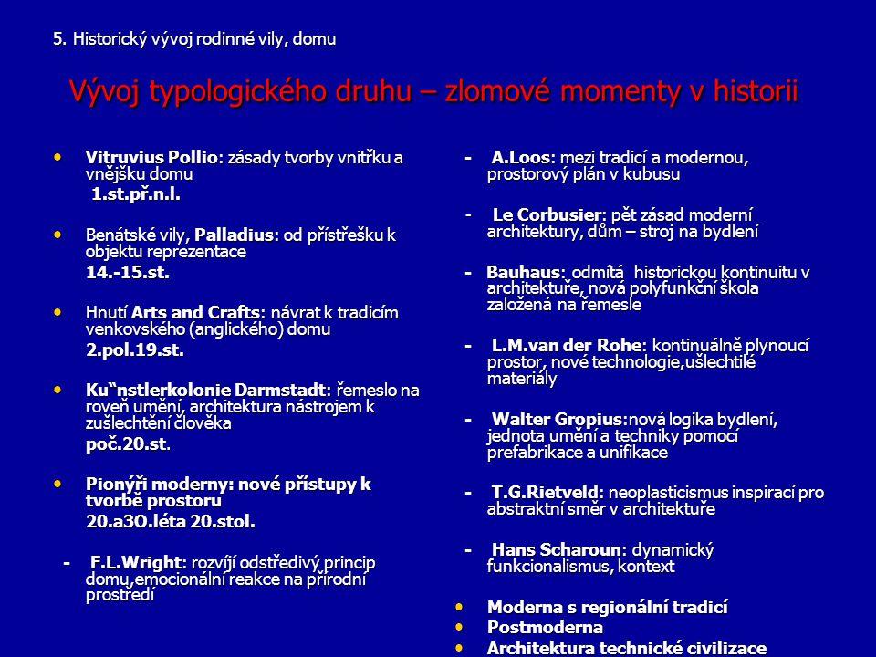 5. Historický vývoj rodinné vily, domu Vývoj typologického druhu – zlomové momenty v historii Vitruvius Pollio: zásady tvorby vnitřku a vnějšku domu V