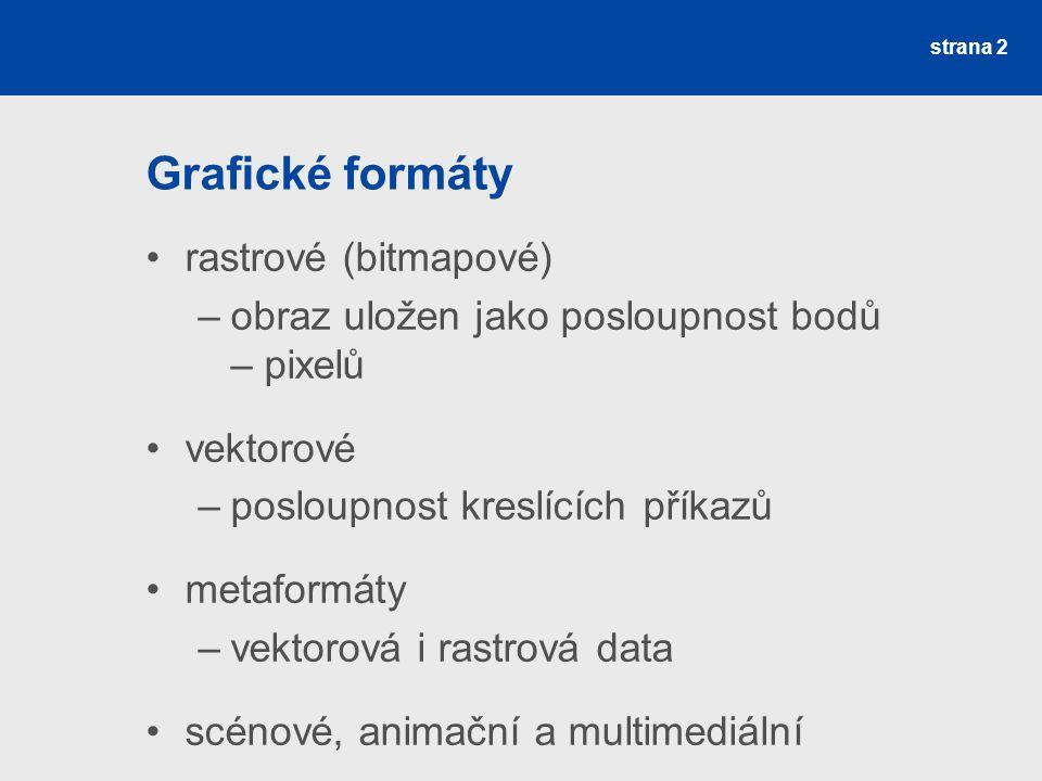 Grafické formáty rastrové (bitmapové) –obraz uložen jako posloupnost bodů – pixelů vektorové –posloupnost kreslících příkazů metaformáty –vektorová i