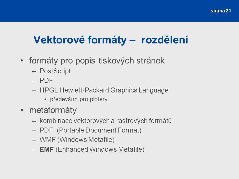 Vektorové formáty – rozdělení formáty pro popis tiskových stránek –PostScript –PDF –HPGL Hewlett-Packard Graphics Language především pro plotery metaf