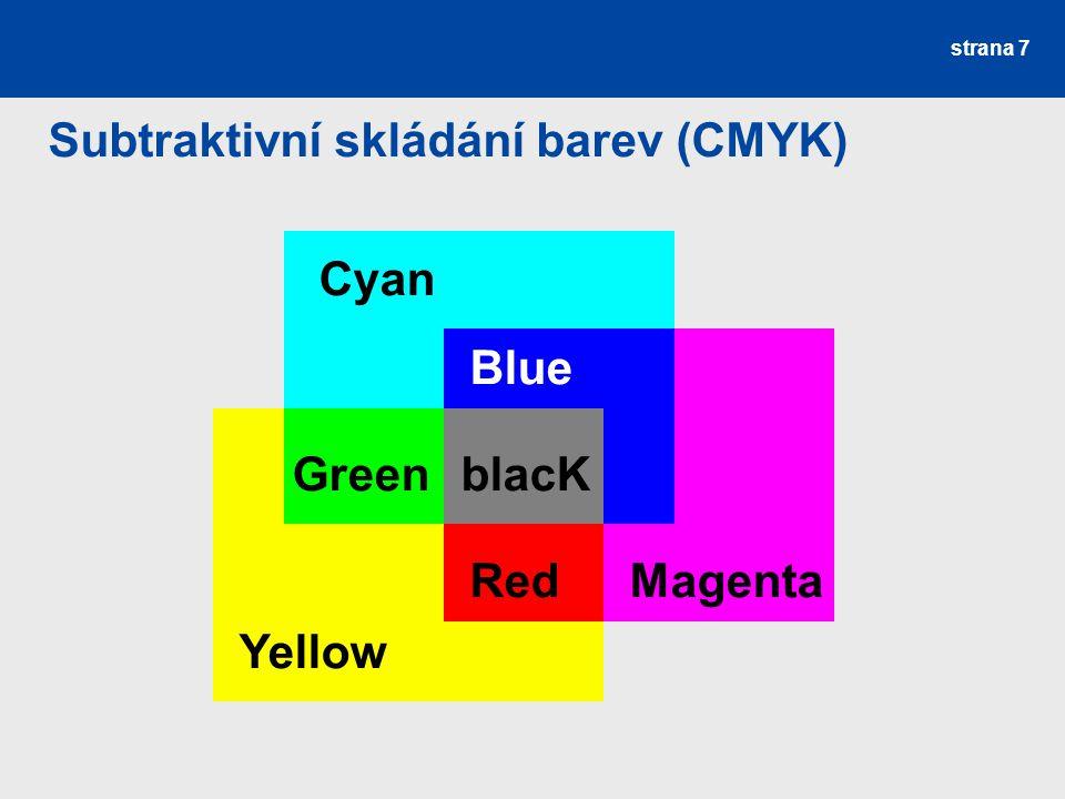 HSV model –barevný tón (H, hue) –sytost (S, saturation) –jasová hodnota (V, value) vhodné pro uživatele barevný tón –určuje převládající barvu –0° až 360° sytost –příměs jiných barev –0 (bílá) až 1 (spektrální barva) jas –množství bílého světla –rozsah 0 (černá) až 1 strana 8