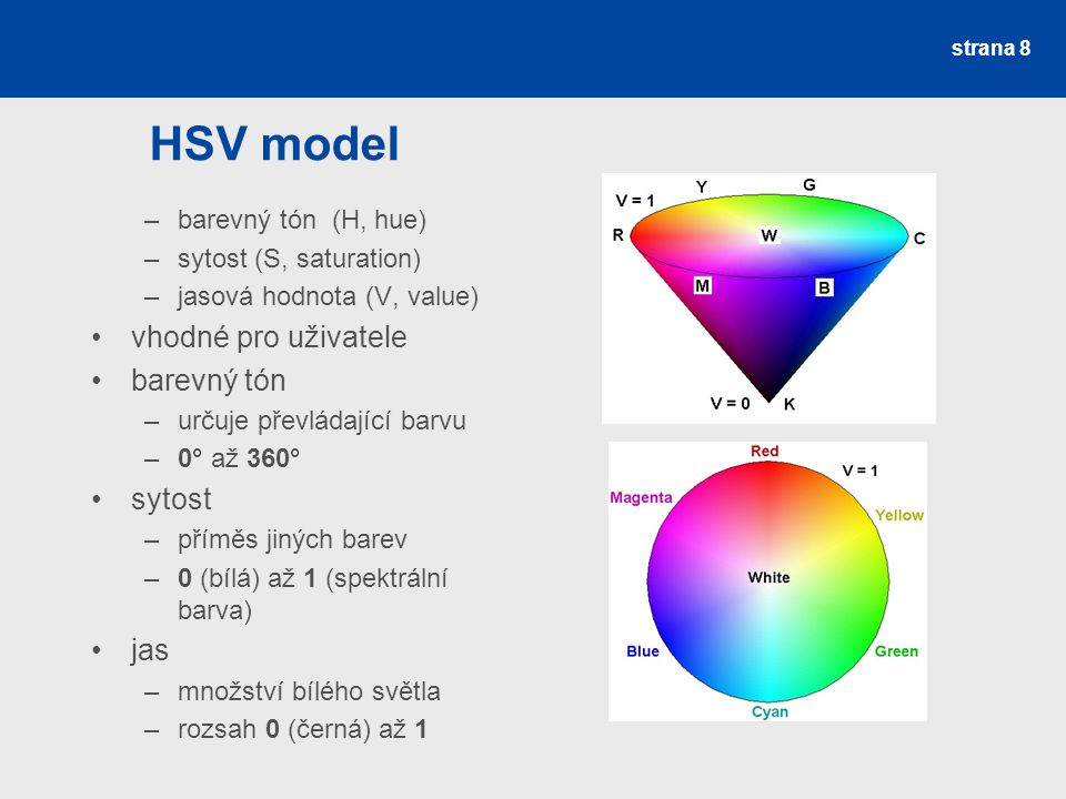 HSV model –barevný tón (H, hue) –sytost (S, saturation) –jasová hodnota (V, value) vhodné pro uživatele barevný tón –určuje převládající barvu –0° až