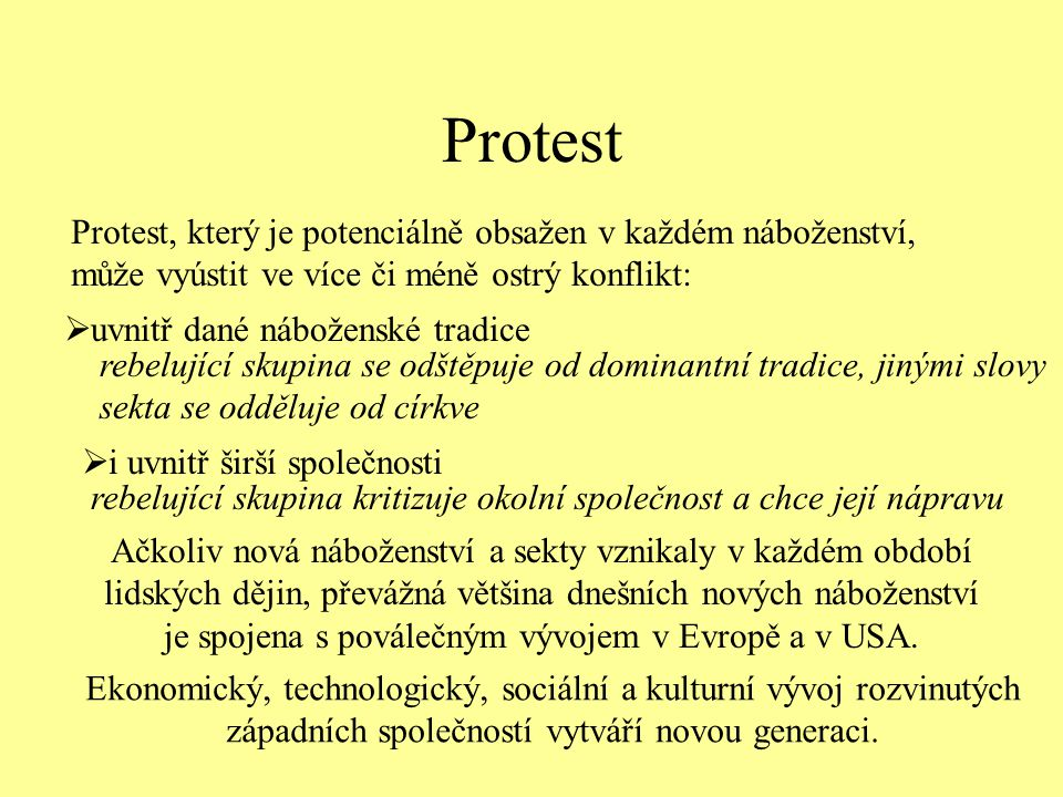 Protest Protest, který je potenciálně obsažen v každém náboženství, může vyústit ve více či méně ostrý konflikt: rebelující skupina se odštěpuje od do