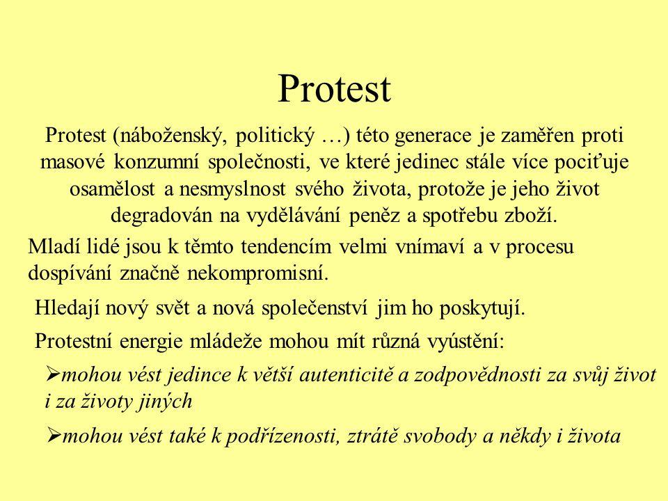 Protest Protest (náboženský, politický …) této generace je zaměřen proti masové konzumní společnosti, ve které jedinec stále více pociťuje osamělost a