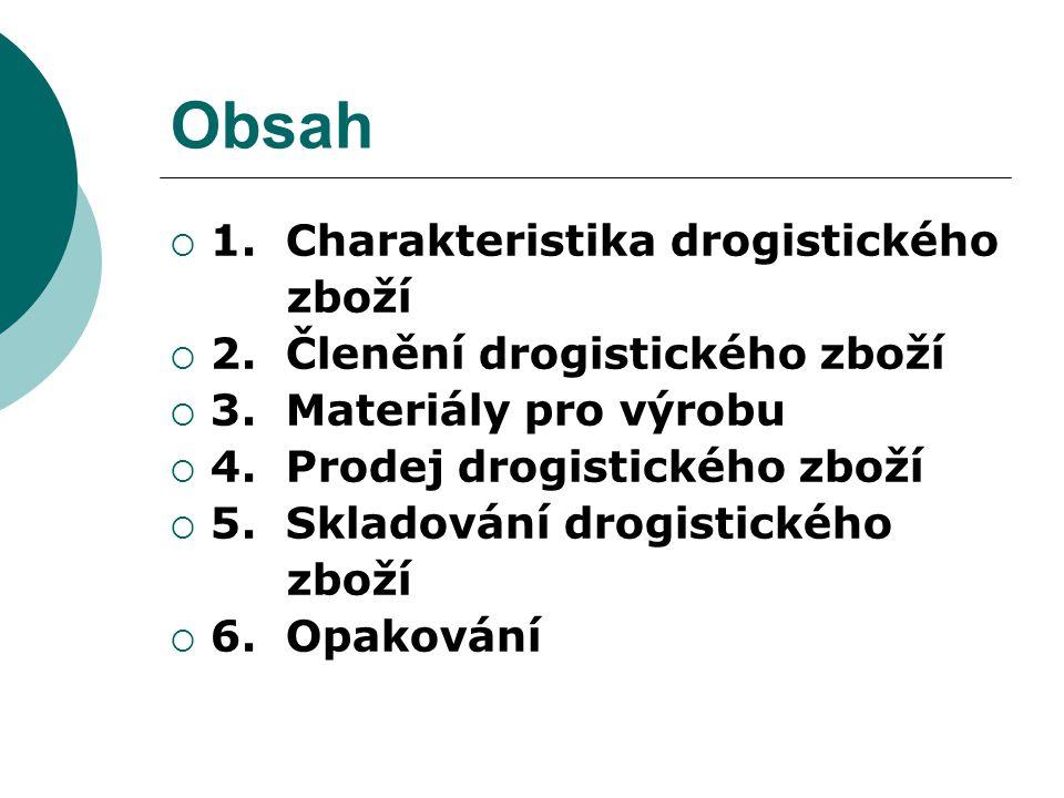 Obsah  1. Charakteristika drogistického zboží  2. Členění drogistického zboží  3. Materiály pro výrobu  4. Prodej drogistického zboží  5. Skladov