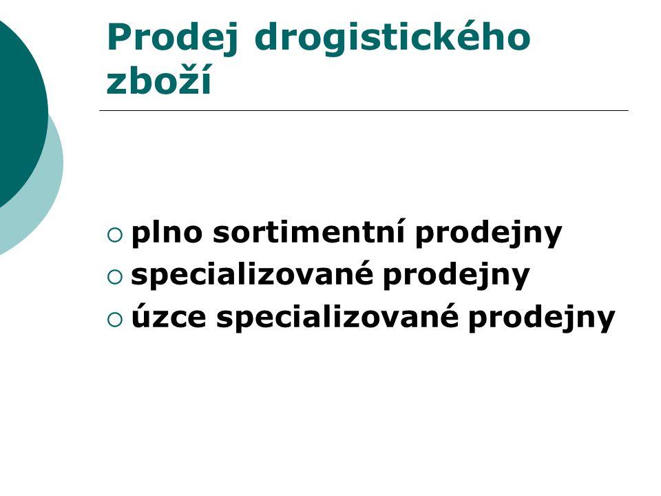Prodej drogistického zboží  plno sortimentní prodejny  specializované prodejny  úzce specializované prodejny