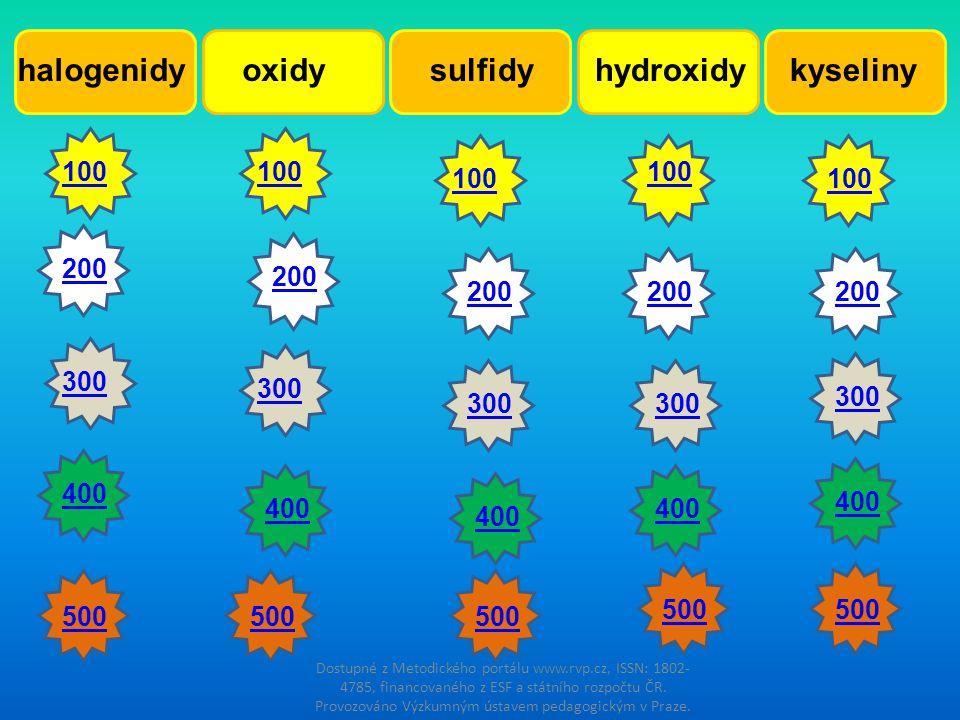 halogenidyhydroxidyoxidysulfidykyseliny 100200300400 500 100 500 200 300 400