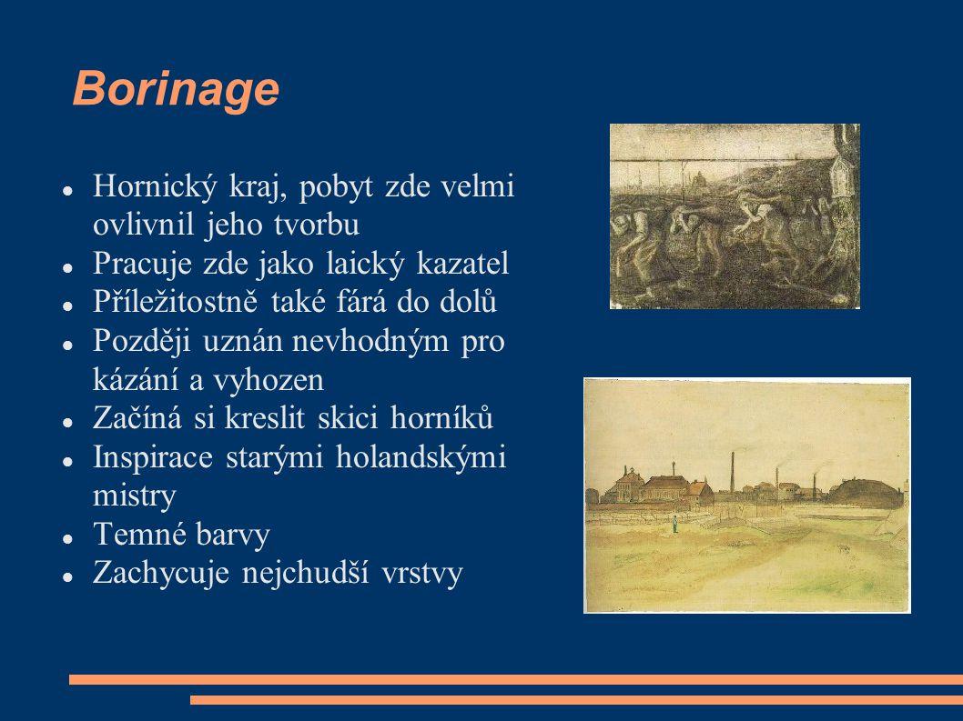 Borinage Hornický kraj, pobyt zde velmi ovlivnil jeho tvorbu Pracuje zde jako laický kazatel Příležitostně také fárá do dolů Později uznán nevhodným p