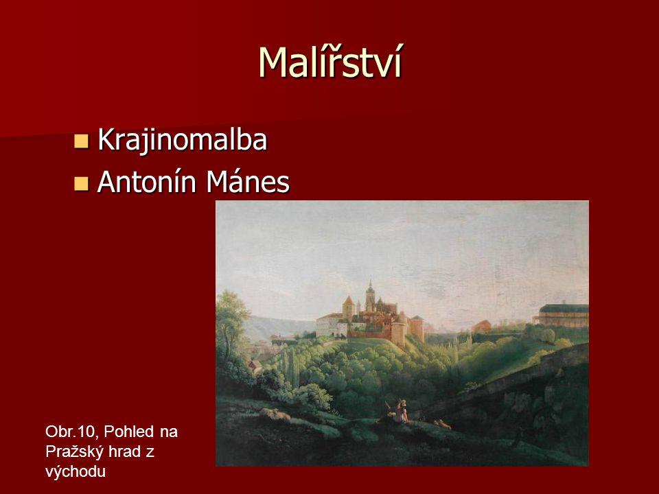 Malířství Krajinomalba Krajinomalba Antonín Mánes Antonín Mánes Obr.10, Pohled na Pražský hrad z východu