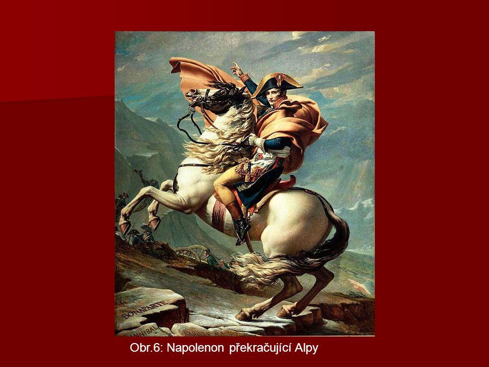 Obr.6: Napolenon překračující Alpy