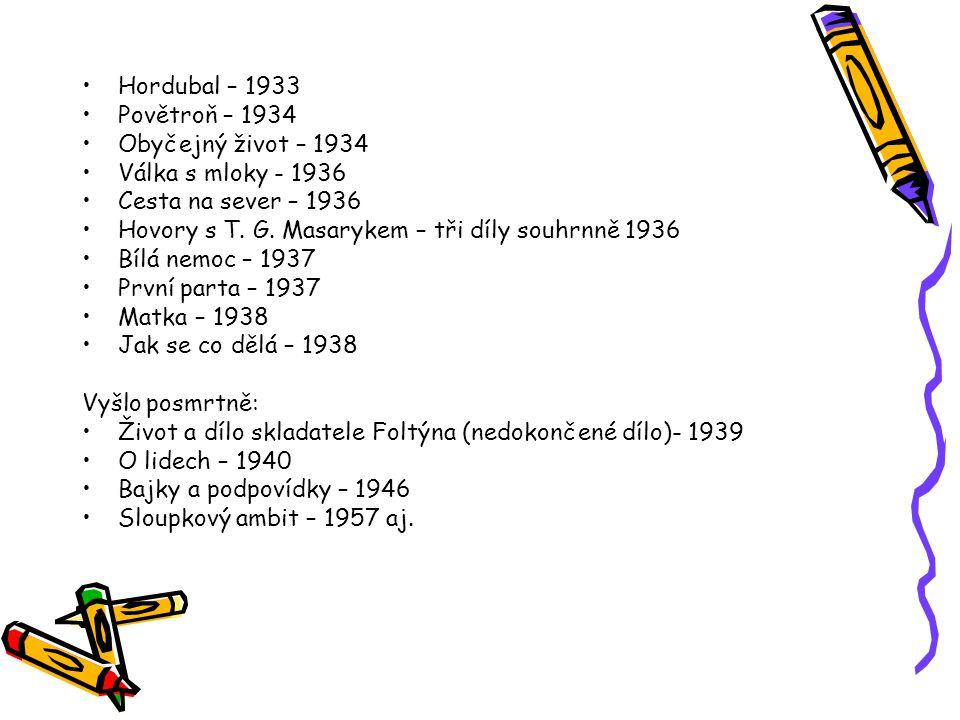 Hordubal – 1933 Povětroň – 1934 Obyčejný život – 1934 Válka s mloky - 1936 Cesta na sever – 1936 Hovory s T. G. Masarykem – tři díly souhrnně 1936 Bíl