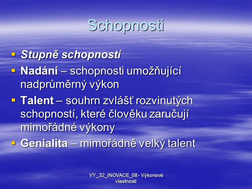 Schopnosti  Stupně schopností  Nadání – schopnosti umožňující nadprůměrný výkon  Talent – souhrn zvlášť rozvinutých schopností, které člověku zaruč