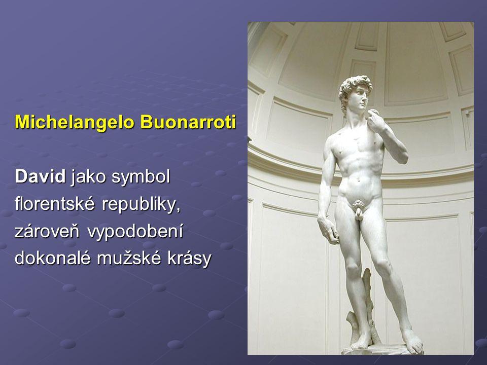 Michelangelo Buonarroti David jako symbol florentské republiky, zároveň vypodobení dokonalé mužské krásy