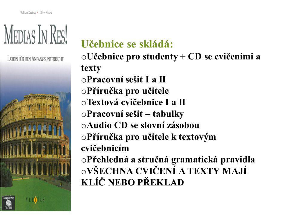 Učebnice se skládá: o Učebnice pro studenty + CD se cvičeními a texty o Pracovní sešit I a II o Příručka pro učitele o Textová cvičebnice I a II o Pra