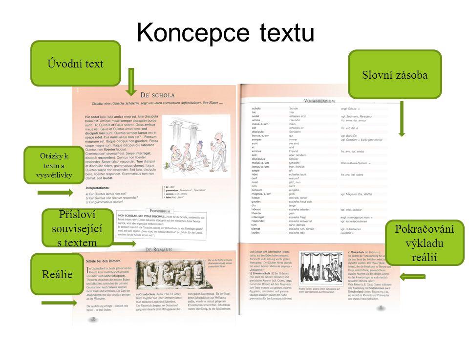 Koncepce textu Úvodní text Přísloví související s textem Otázky k textu a vysvětlivky Reálie Slovní zásoba Pokračování výkladu reálií
