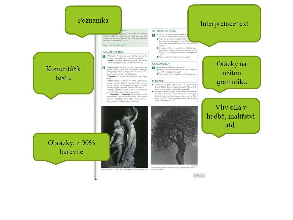 Poznámka Komentář k textu Interpretace text Otázky na užitou gramatiku Vliv díla v hudbě, malířství atd. Obrázky, z 90% barevné