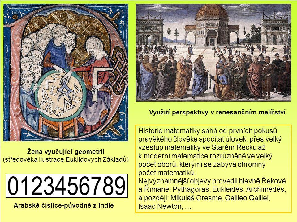 Arabské číslice-původně z Indie Využití perspektivy v renesančním malířství Historie matematiky sahá od prvních pokusů pravěkého člověka spočítat úlov