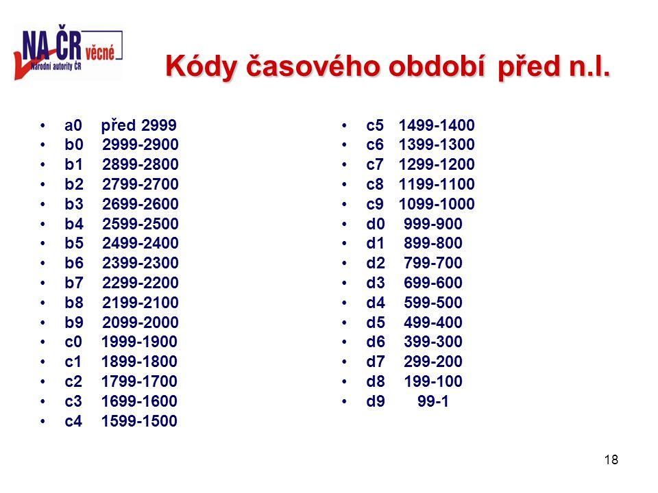 18 Kódy časového obdobípřed n.l. Kódy časového období před n.l.