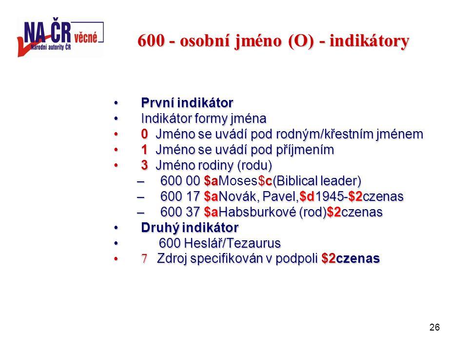 26 600 - osobní jméno (O) - indikátory První indikátorPrvní indikátor Indikátor formy jménaIndikátor formy jména 0 Jméno se uvádí pod rodným/křestním jménem0 Jméno se uvádí pod rodným/křestním jménem 1 Jméno se uvádí pod příjmením1 Jméno se uvádí pod příjmením 3 Jméno rodiny (rodu)3 Jméno rodiny (rodu) –600 00 $a$c(Biblical leader) –600 00 $aMoses$c(Biblical leader) –600 17 $aNovák, Pavel,$d1945-$2czenas –600 37 $aHabsburkové (rod)$2czenas Druhý indikátorDruhý indikátor 600 Heslář/Tezaurus 600 Heslář/Tezaurus 7 Zdroj specifikován v podpoli $2czenas7 Zdroj specifikován v podpoli $2czenas