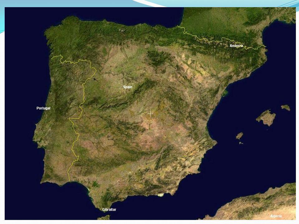 Španělsko Sousedí s Francií, Andorrou, Gibraltarem a Portugalskem Pobřeží je omýváno Atlantským oceánem a Středozemním mořem Španělsko je již několik století monarchií Úředními jazyky jsou španělština (kastilština), regionálně – baskičtina, katalánština Španělsko je členem EU a NATO, platí zde EURO Od 16.