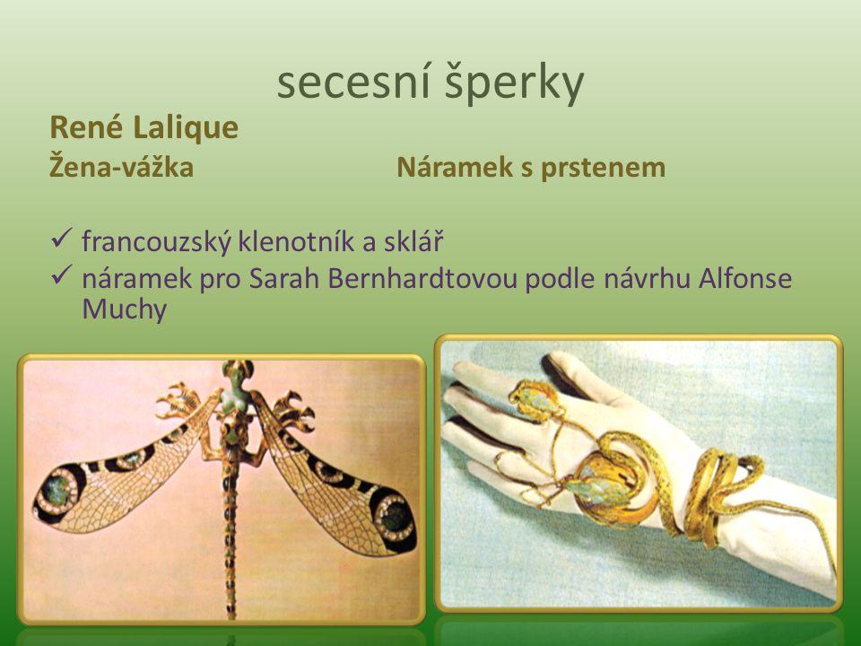 secesní šperky René Lalique Žena-vážka Náramek s prstenem francouzský klenotník a sklář náramek pro Sarah Bernhardtovou podle návrhu Alfonse Muchy