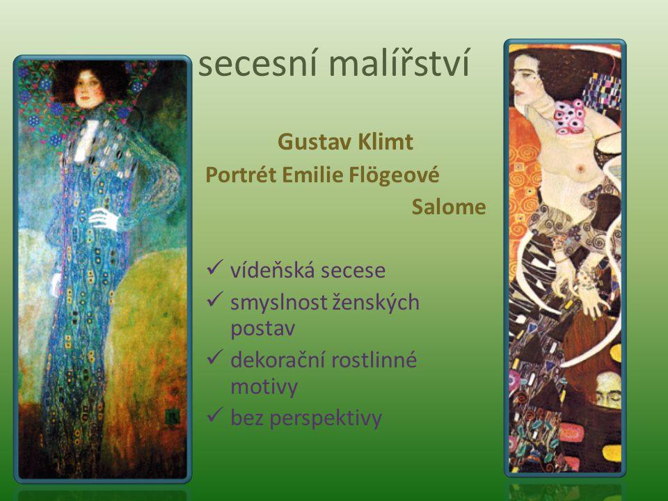 secesní malířství Gustav Klimt Portrét Emilie Flögeové Salome vídeňská secese smyslnost ženských postav dekorační rostlinné motivy bez perspektivy
