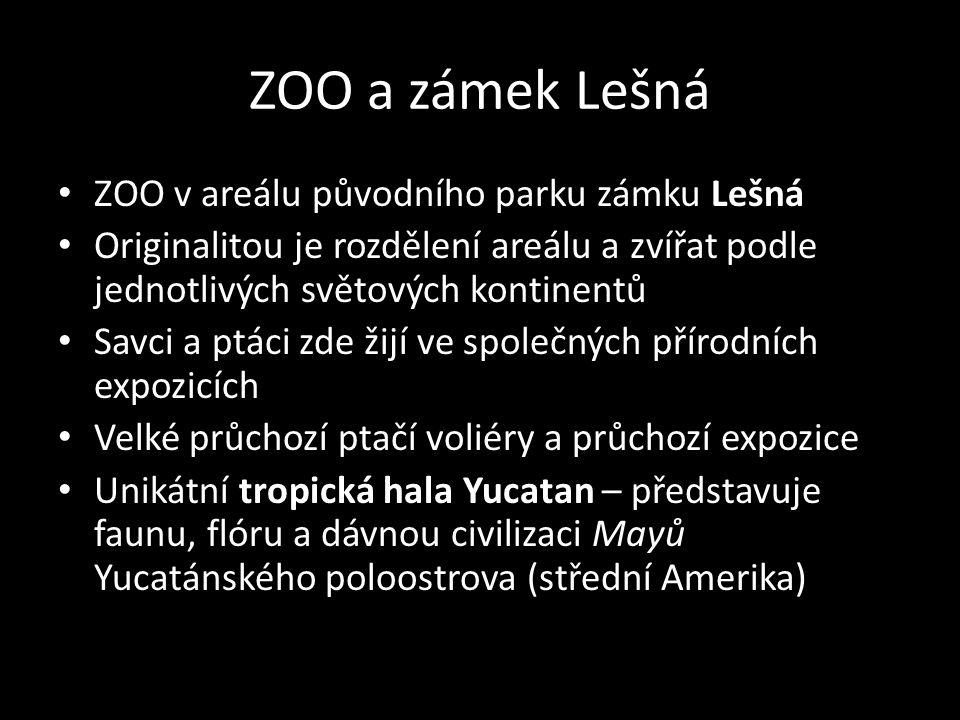 ZOO a zámek Lešná ZOO v areálu původního parku zámku Lešná Originalitou je rozdělení areálu a zvířat podle jednotlivých světových kontinentů Savci a p