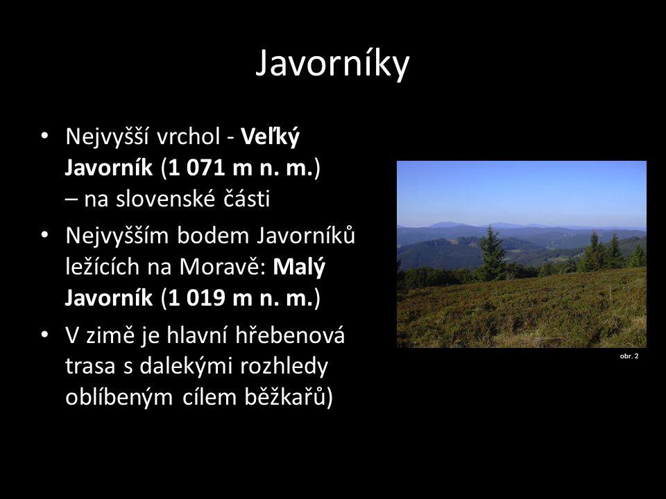 Javorníky Nejvyšší vrchol - Veľký Javorník (1 071 m n. m.) – na slovenské části Nejvyšším bodem Javorníků ležících na Moravě: Malý Javorník (1 019 m n