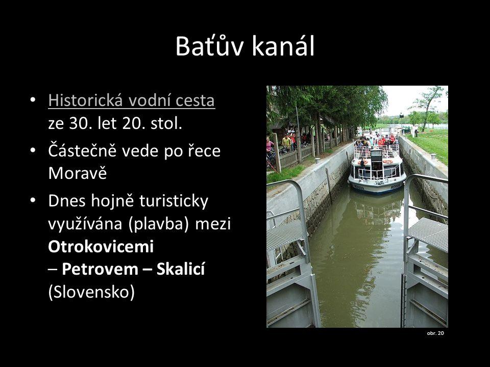 Baťův kanál Historická vodní cesta ze 30.let 20. stol.