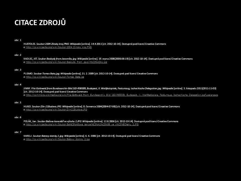 CITACE ZDROJŮ obr. 1 HUSTOLES. Soubor:2004 Zlinsky kraj.PNG: Wikipedie [online]. 14.4.2011 [cit. 2012-10-14]. Dostupné pod licencí Creative Commons z: