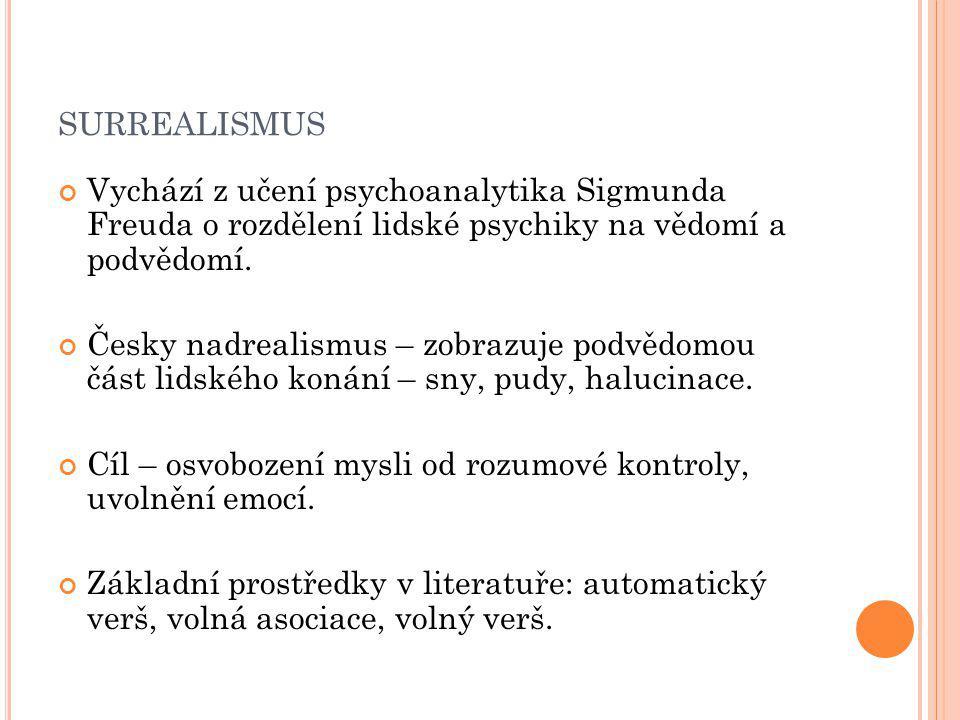 SURREALISMUS Vychází z učení psychoanalytika Sigmunda Freuda o rozdělení lidské psychiky na vědomí a podvědomí.
