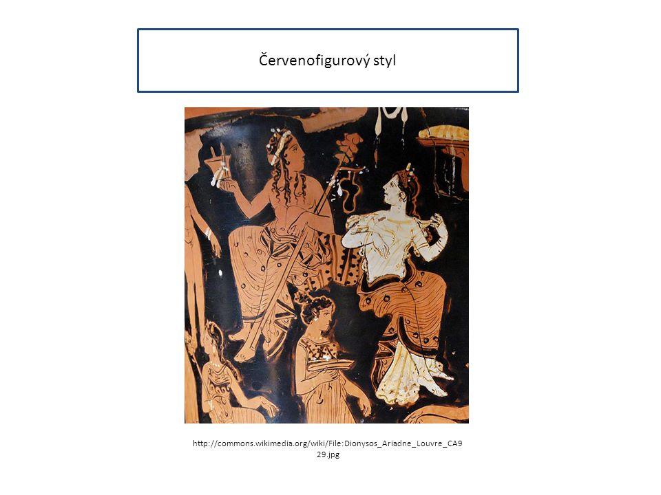 Červenofigurový styl http://commons.wikimedia.org/wiki/File:Dionysos_Ariadne_Louvre_CA9 29.jpg