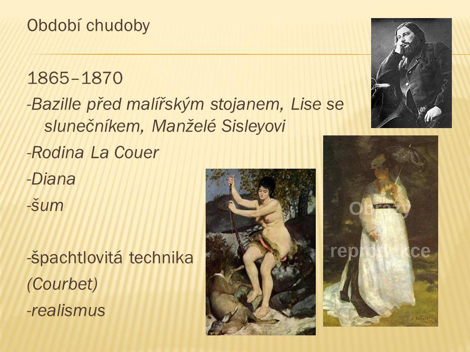 Období chudoby 1865–1870 -Bazille před malířským stojanem, Lise se slunečníkem, Manželé Sisleyovi -Rodina La Couer -Diana -šum -špachtlovitá technika