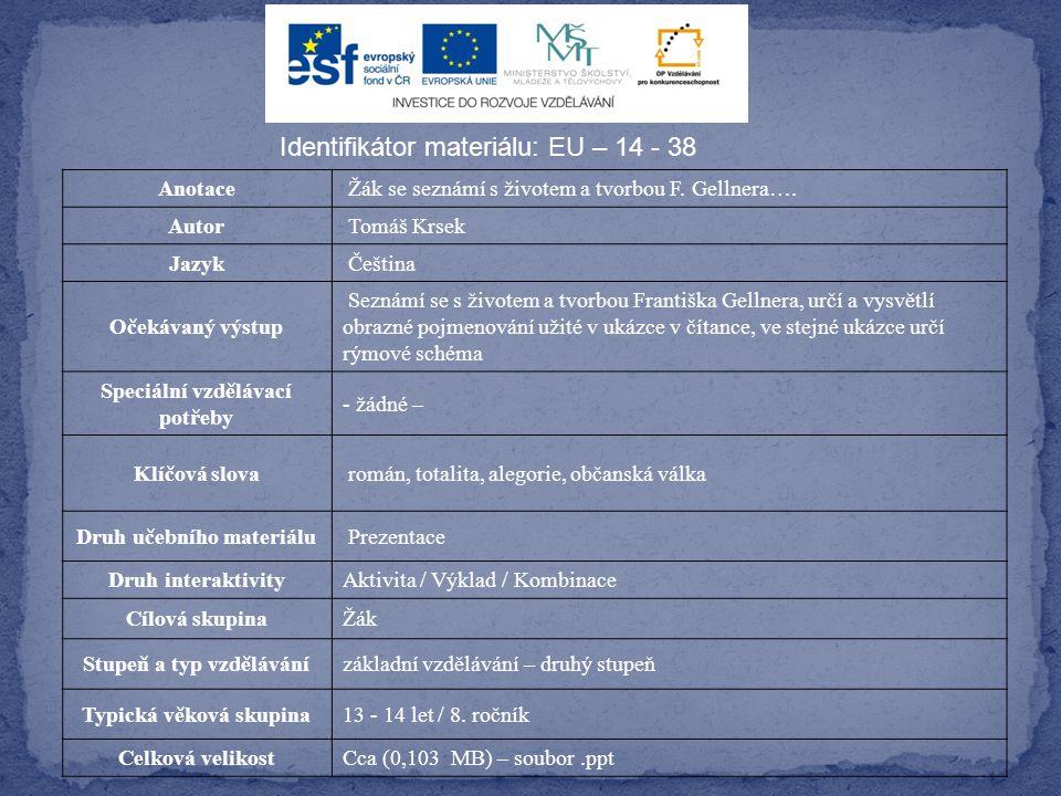 Identifikátor materiálu: EU – 14 - 38 Anotace Žák se seznámí s životem a tvorbou F.