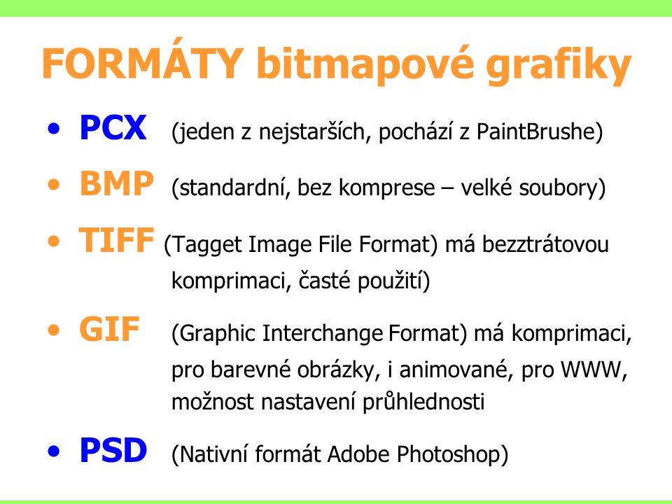 FORMÁTY bitmapové grafiky PCX (jeden z nejstarších, pochází z PaintBrushe) BMP (standardní, bez komprese – velké soubory) TIFF (Tagget Image File Form