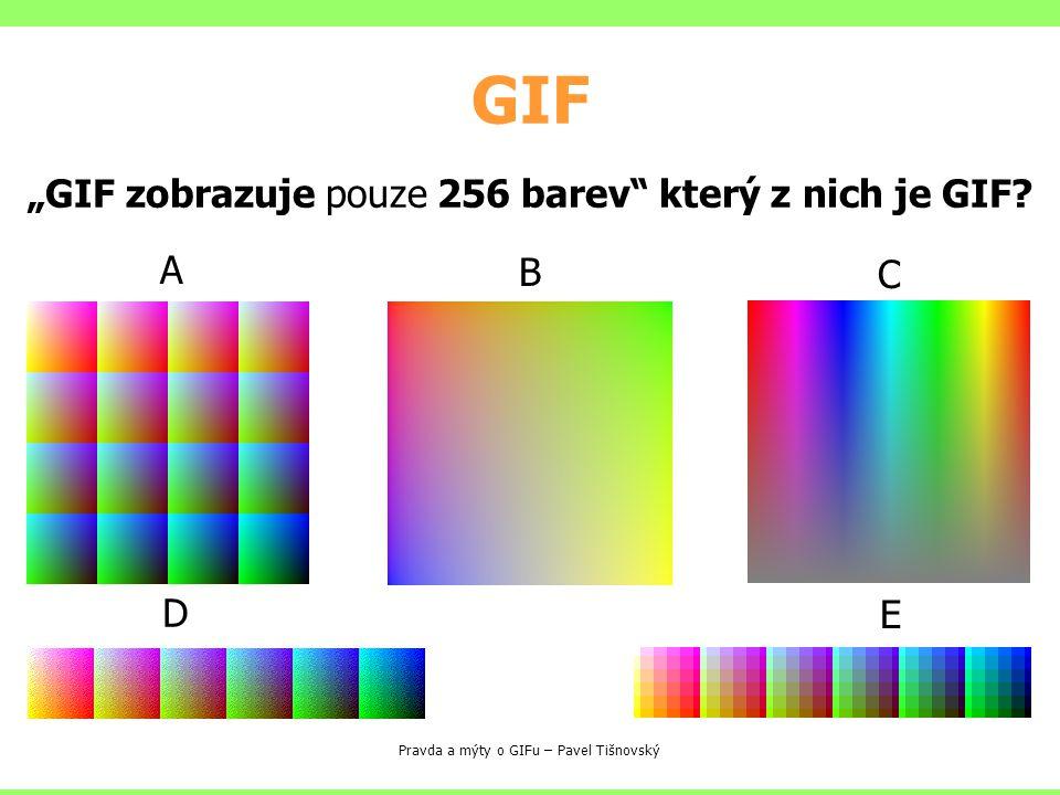 """GIF Pravda a mýty o GIFu – Pavel Tišnovský A B C D E """"GIF zobrazuje pouze 256 barev"""" který z nich je GIF?"""
