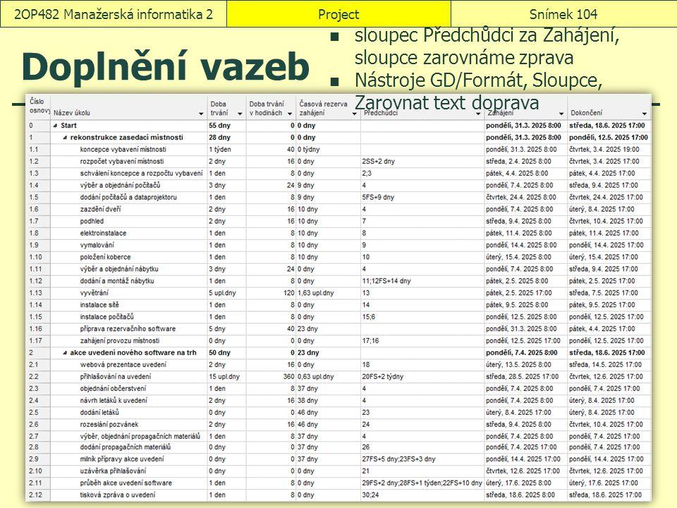 Doplnění vazeb ProjectSnímek 1042OP482 Manažerská informatika 2 sloupec Předchůdci za Zahájení, sloupce zarovnáme zprava Nástroje GD/Formát, Sloupce,