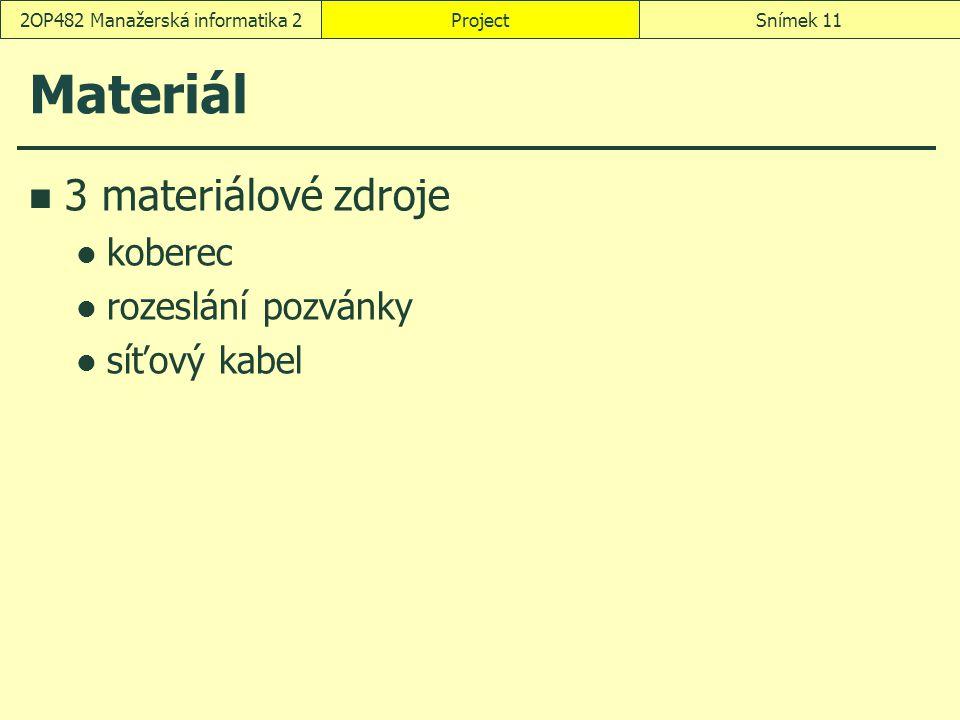 Materiál 3 materiálové zdroje koberec rozeslání pozvánky síťový kabel ProjectSnímek 112OP482 Manažerská informatika 2