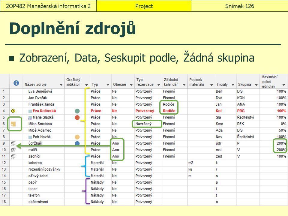 Doplnění zdrojů Zobrazení, Data, Seskupit podle, Žádná skupina ProjectSnímek 1262OP482 Manažerská informatika 2