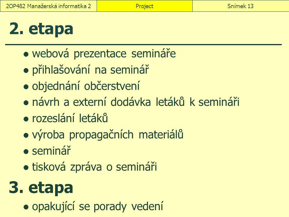 ProjectSnímek 132OP482 Manažerská informatika 2 2. etapa webová prezentace semináře přihlašování na seminář objednání občerstvení návrh a externí dodá